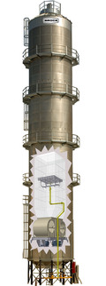 BROCK® Commercial Tower Grain Dryer cutaway photo showing fans and burner components.