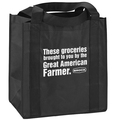 """Free reusable grocery bags for show attendees are available while supplies last. The bags highlight the importance of farmers with the text: """"These groceries brought to you by the Great American Farmer."""""""