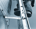 Side ladders allow plenty of space between rungs and bin wall for a secure footing.