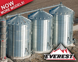 Brock's EVEREST® Grain Bins offer the tallest eave heights in the industry along with higher grain-holding capacities and enhanced roof peak load strength.