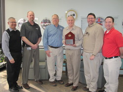 Brock Grain Systems accepts the IFSI appreciation award at Brock's Milford, Indiana, headquarters. Pictured (left to right) are Dennis Spice, Director of Corporate Relations and Development, IFSI; Greg Guthrie, Plant Manager, Brock; Dave Newcomb, Ag Rescue Program Manager, IFSI; Roger Hollinger, Customer Fulfillment Manager, Brock; Jim Strube, Human Resources Safety Committee, Brock; and Darren Zink, Strategic Accounts Manager, Brock.