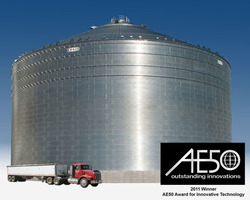 Brock Grain Systems' M-Series™ Commercial Grain Storage Bins were honored recently with a 2011 AE50 Award presented by ASABE – the American Society of Agricultural and Biological Engineers. Pictured here is one of the company's 156-foot (47.5-m) diameter M-Series™ Grain Storage Bins with a 1.34 million bushel (34,000 metric tons) capacity.
