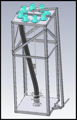 Distributor unit for Brock's SUPER-AIR® Pneumatic Conveying System provides multiple outlets to make it convenient for moving grain to multiple storage bins.