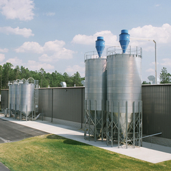 BROCK® Hopper-Bottom Silos offer an economical way to store free-flowing raw materials outside or in-plant.