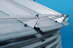 "Eave Tension Straps with Brock's ""High-Rise"" 3-Step Roof Rib design"